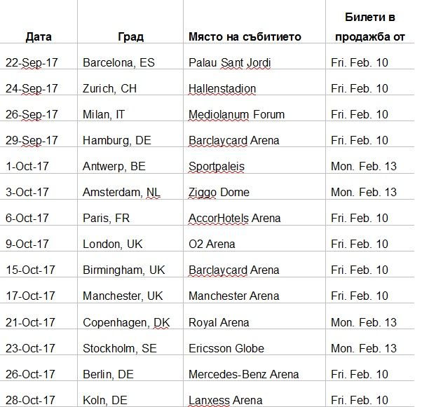 Lady Gaga info tour 2017